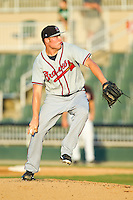 Rome Braves relief pitcher Patrick Scoggin (23) in action against the Kannapolis Intimidators at CMC-Northeast Stadium on August 25, 2013 in Kannapolis, North Carolina.  The Intimidators defeated the Braves 9-0.  (Brian Westerholt/Four Seam Images)