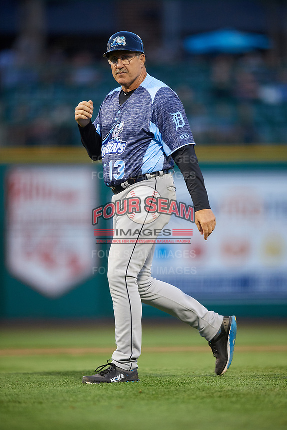 West Michigan Whitecaps manager Lance Parrish (13) walks to the mound during a game against the Fort Wayne TinCaps on May 17, 2018 at Parkview Field in Fort Wayne, Indiana.  Fort Wayne defeated West Michigan 7-3.  (Mike Janes/Four Seam Images)