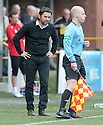 Alloa Manager Paul Hartley has a word in the ear of stand side assistant referee.