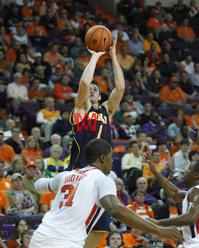 Nov 30, 2010; Clemson, SC, USA; Michigan Wolverines guard Stu Douglass (1) shoots a three in the game against the Clemson Tigers at Littlejohn Coliseum. Mandatory Credit: Daniel Shirey/WM Photo -US PRESSWIRE