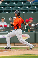 Brenden Webb (17) of the Frederick Keys follows through on his swing against the Winston-Salem Dash at BB&T Ballpark on May 28, 2013 in Winston-Salem, North Carolina.  The Dash defeated the Keys 17-5 in the first game of a double-header.  (Brian Westerholt/Four Seam Images)