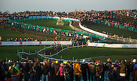 29 NOV 2014 - MILTON KEYNES, GBR - Spectators watch competitors make their way round the course during the men's 2014-2015 UCI Cyclo-Cross World Cup round in Campbell Park in Milton Keynes, Great Britain (PHOTO COPYRIGHT © 2014 NIGEL FARROW, ALL RIGHTS RESERVED)