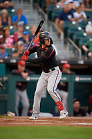 Rochester Red Wings Brandon Barnes (4) bats during an International League game against the Buffalo Bisons on August 26, 2019 at Sahlen Field in Buffalo, New York.  Buffalo defeated Rochester 5-4.  (Mike Janes/Four Seam Images)