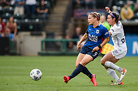TACOMA, WA - JULY 31: Eugenie Le Sommer #9 of the OL Reign scores a goal during a game between Racing Louisville FC and OL Reign at Cheney Stadium on July 31, 2021 in Tacoma, Washington.
