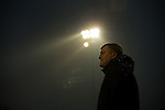© Joel Goodman - 07973 332324 . 14/11/2015 . Manchester , UK . Manager KARL MARGINSON watches from the touchline as FC United are a goal down . FC United host Gainsborough Trinity in the National League North at Broadhurst Park . NB requested changing room access three times and was denied three times . Photo credit : Joel Goodman