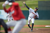 Kannapolis Intimidators relief pitcher Luis Ledo (39) delivers a pitch to the plate against the Lakewood BlueClaws at Kannapolis Intimidators Stadium on April 8, 2018 in Kannapolis, North Carolina.  The Intimidators defeated the BlueClaws 4-3 in game two of a double-header.  (Brian Westerholt/Four Seam Images)