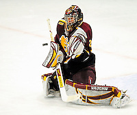 2 January 2009: Ferris State Bulldogs' goaltender Taylor Nelson, a Freshman from Regina, Sask., makes a save against the St. Lawrence Saints during the first game of the 2009 Catamount Cup Ice Hockey Tournament hosted by the University of Vermont at Gutterson Fieldhouse in Burlington, Vermont. The Saints defeated the Bulldogs 5-4 to move onto the championship game against the University of Vermont Catamounts...Mandatory Photo Credit: Ed Wolfstein Photo