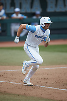 Tyler Causey (6) of the North Carolina Tar Heels hustles down the first base line against the North Carolina State Wolfpack at Boshamer Stadium on March 27, 2021 in Chapel Hill, North Carolina. (Brian Westerholt/Four Seam Images)