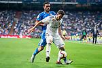 Real Madrid Nacho Fernandez and Getafe CF Jorge Molina during La Liga match between Real Madrid and Getafe CF at Santiago Bernabeu in Madrid, Spain. August 19, 2018. (ALTERPHOTOS/Borja B.Hojas)