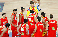 Spain players after defeat during the quarter final World championship basketball match against Serbia in Istanbul, Serbia-Spain, Turkey on Wednesday, Sep. 08, 2010.(Novak Djurovic/Starsportphoto.com).