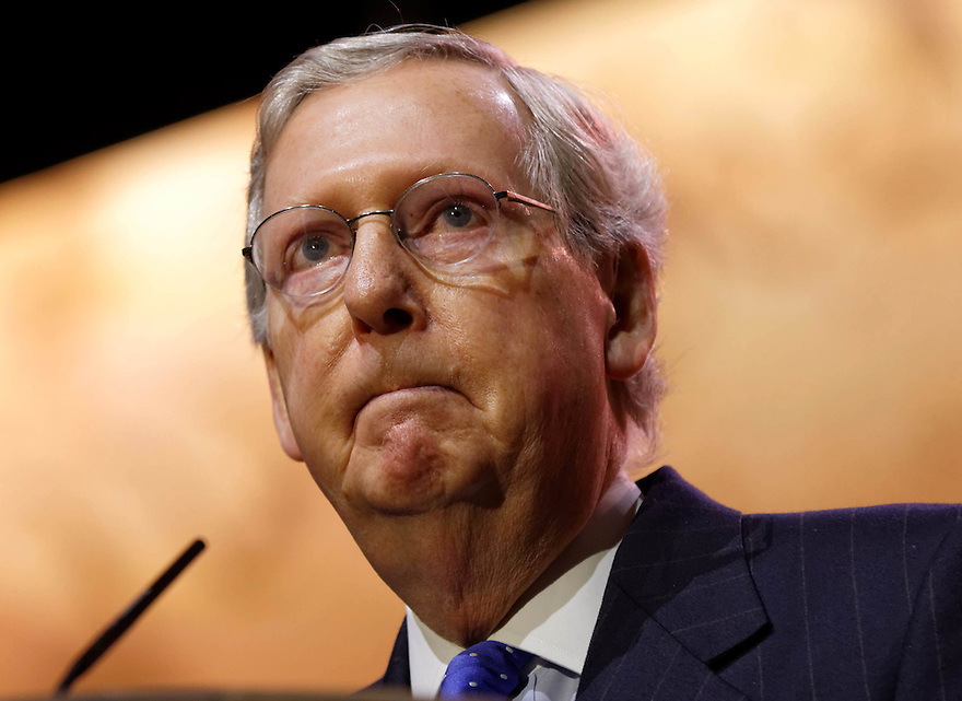 National Harbor, Maryland, USA. 6th March 2014. Republican senate minority leaderMitch McConnell of Kentucky speaks during an address to delegates at the Conservative Political Action Conference (CPAC). Alamy/Trevor Collens.
