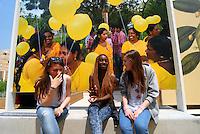 Milan 30 May 2015<br /> EXPO 2015. Giovani studentesse prendono una pausa dopo la lunga visita agli stand dell'esposizione universale dedicata al cibo. <br /> Young students take a break after a long visit to the stands of the world fair dedicated to the food.<br /> Photo Livio Senigalliesi