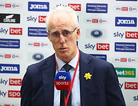 20th March 2021; Liberty Stadium, Swansea, Glamorgan, Wales; English Football League Championship Football, Swansea City versus Cardiff City; Mick McCarthy, Manager of Cardiff City speaks during a pre-match interview