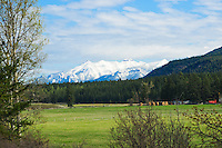 Kootenay Rockies as backdrop to hay ranch
