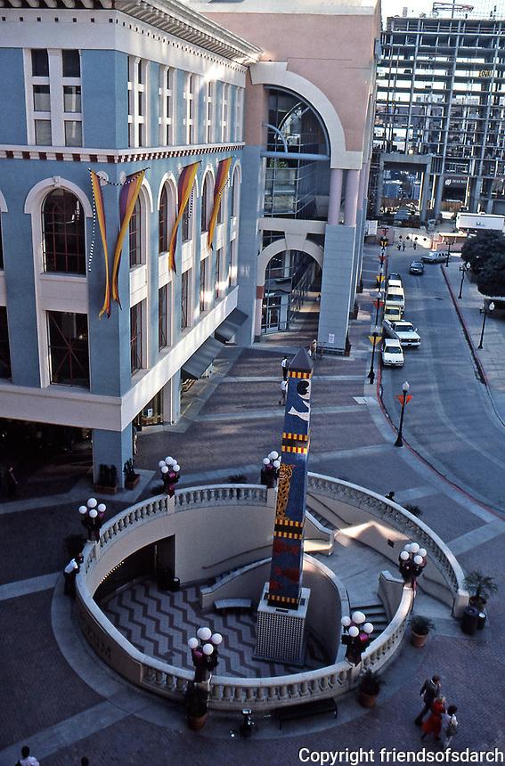 Horton Plaza Street Scene. San Diego.  Stairs leading down to Lyceum Theater.  Architect Jon Jerde, 1985. Now called Westfield Horton Plaza.  Photo Jan. 1987.