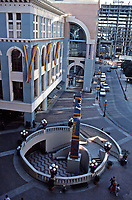 Horton Plaza Street Scene. San Diego.  Stairs leading down to Lyceum Theater.  Architect Jon Jerde, 1985. Now called Westfield Horton Plaza.  Photo Jan. 1987.