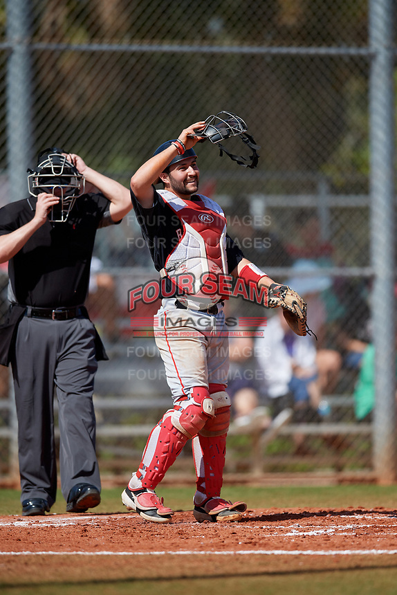 Ball State Cardinals catcher Chase Sebby (20) during a game against the Saint Joseph's Hawks on March 9, 2019 at North Charlotte Regional Park in Port Charlotte, Florida.  Ball State defeated Saint Joseph's 7-5.  (Mike Janes/Four Seam Images)