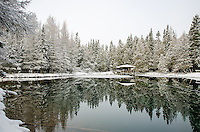 Fresh snow and a beautiful morning at Big Springs (Kitch-iti-kipi). Thompson, MI