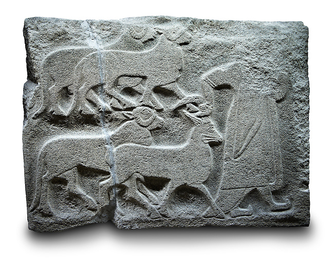 Picture & image of a Neo-Hittite orthostat showing Sacrificial animals being led from Alacahöyük, Alaca Çorum Province, Turkey. Ancora Archaeological Museum. Old Bronze age Chalcolithic Period.