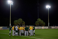 Siena Saints team meeting after a game against the UCF Knights on February 14, 2020 at John Euliano Park in Orlando, Florida.  UCF defeated Siena 2-1.  (Mike Janes/Four Seam Images)