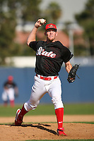 February 21 2009: Stephen Strasburg of the San Diego State University Aztecs pitches at the MLB Urban Youth Academy in Compton,CA.  Photo by Larry Goren/Four Seam Images