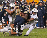 Pitt running back Qadree Ollison is tackled by Penn State cornerback Tariq Castro-Fields (5). The Penn State Nittany Lions defeated the Pitt Panthers 51-6 on September 08, 2018 at Heinz Field in Pittsburgh, Pennsylvania.