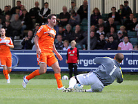 Pictured L-R: Danny Graham of Swansea takes a shot only to be saved by Neath goalkeeper lee Kendall. Saturday 17 July 2011<br /> Re: Pre season friendly, Neath Football Club v Swansea City FC at the Gnoll ground, Neath, south Wales.