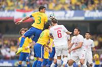 São Paulo, Brazil - June 6, 2014: Brazil defeat Serbia 1-0 during its final warm-up friendly match at Morumbi Stadium.