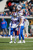 Buffalo Bills E.J. Gaines (28) and Jordan Poyer (21) during an NFL Wild-Card football game against the Jacksonville Jaguars, Sunday, January 7, 2018, in Jacksonville, Fla.  (Mike Janes Photography)