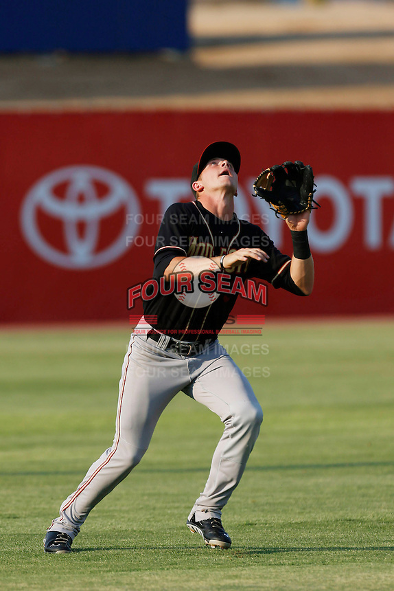 Trevor Story #3 of the Modesto Nuts waits to catch a pop fly during a game against the High Desert Mavericks at Stater Bros. Stadium on June 29, 2013 in Adelanto, California. Modesto defeated High Desert, 7-2. (Larry Goren/Four Seam Images)