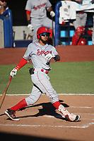 Miguel Aparicio (36) of the Spokane Indians bats against the Hillsboro Hops at Ron Tonkin Field on July 23, 2017 in Hillsboro, Oregon. Spokane defeated Hillsboro, 5-3. (Larry Goren/Four Seam Images)