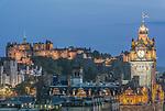 Europe, Great Britain, Scotland, Edinburgh, Edinburgh Castle & the Balmoral Hotel From Calton Hill at Dusk