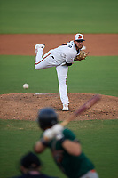 Delmarva Shorebirds pitcher Gray Fenter (21) during a South Atlantic League game against the Greensboro Grasshoppers on August 21, 2019 at Arthur W. Perdue Stadium in Salisbury, Maryland.  Delmarva defeated Greensboro 1-0.  (Mike Janes/Four Seam Images)