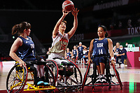 25th August 2021; Tokyo, Japan; Laurie Williams (GBR), Mari Amimoto (JPN), Joy Haizelden (GBR), Wheelchair Basketball : Women's Preliminary Round Group A match <br /> between Japan - Great Britain<br /> during the Tokyo 2020 Paralympic Games at the Musashino Forest Sport Plaza in Tokyo, Japan.