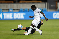 SAN JOSE, CA - SEPTEMBER 16: Yimmi Chara #23 of the Portland Timbers is marked by Paul Marie #33 of the San Jose Earthquakes during a game between Portland Timbers and San Jose Earthquakes at Earthquakes Stadium on September 16, 2020 in San Jose, California.