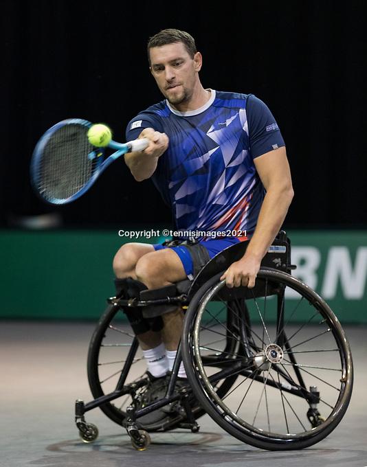 Rotterdam, The Netherlands, 6 march  2021, ABNAMRO World Tennis Tournament, Ahoy,  Semi final wheelchair: Joachim Gerard (BEL).<br /> Photo: www.tennisimages.com/