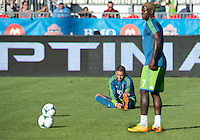 August 10, 2013: Seattle Sounders FC forward Clint Dempsey #2 and Seattle Sounders FC forward Eddie Johnson #7 during the warm up in an MLS regular season game between the Seattle Sounders and Toronto FC at BMO Field in Toronto, Ontario Canada.<br /> Seattle Sounders FC won 2-1.