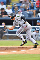 Augusta GreenJackets Jacob Gonzalez (18) runs to first base during a game against the Asheville Tourists at McCormick Field on July 13, 2019 in Asheville, North Carolina. The GreenJackets defeated the Tourists 6-4. (Tony Farlow/Four Seam Images)