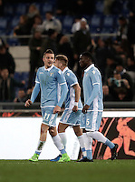 Calcio, Serie A: Roma, stadio Olimpico, 1marzo 2017.<br /> Lazio's Sergej Milinkovic (r) celebrates after scoring with his teammates Ciro Immobile (c) and Jacinto Quissanga Bastos (r) during the Italian TIM Cup 1st leg semifinal football match between Lazio and AS Roma at Rome's Olympic stadium, on March 1, 2017.<br /> UPDATE IMAGES PRESS/Isabella Bonotto
