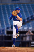 Pitcher Zach Linginfelter (28) of Sevier County High School in Sevierville, Tennessee playing for the Chicago Cubs scout team during the East Coast Pro Showcase on July 27, 2015 at George M. Steinbrenner Field in Tampa, Florida.  (Mike Janes/Four Seam Images)