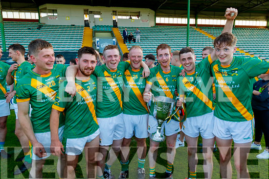 Donal Kennedy, Seanie Nolan, Daniel Collins, Conor Fitzell, Dougie Fitzell, James Murphy, and Daire Nolan, Kilmoyley players celebrate after winning the Kerry County Senior Hurling Championship Final match between Kilmoyley and Causeway at Austin Stack Park in Tralee