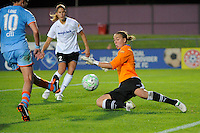 Goalkeeper Brett Maron (17) of magicJack SC defends the shot of Allie Long (10) of Sky Blue FC. Sky Blue FC and magicJack SC played to a 2-2 tie during a Women's Professional Soccer (WPS) match at Yurcak Field in Piscataway, NJ, on July 09, 2011.