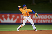 St. Lucie Mets shortstop Andres Gimenez (12) throws to first base during the second game of a doubleheader against the Charlotte Stone Crabs on April 24, 2018 at First Data Field in Port St. Lucie, Florida.  St. Lucie defeated Charlotte 6-5.  (Mike Janes/Four Seam Images)