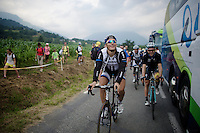 Marcel Kittel (DEU/Giant-Shimano) & Tony Martin (DEU/OmegaPharma-Quickstep) arrive back at the busses after they managed the last mountains of this Tour de France.<br /> <br /> 2014 Tour de France<br /> stage 18: Pau - Hautacam (145km)