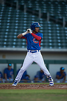 AZL Cubs third baseman Luis Verdugo (18) at bat during an Arizona League game against the AZL Brewers at Sloan Park on June 29, 2018 in Mesa, Arizona. The AZL Cubs 1 defeated the AZL Brewers 7-1. (Zachary Lucy/Four Seam Images)
