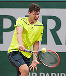 Dominic Thiem (AUT) loses to Rafael Nadal (ESP) 6-2, 6-2, 6-3 at  Roland Garros being played at Stade Roland Garros in Paris, France on May 29, 2014