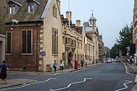 UK, England, Cambridge.  Pembroke College, Trumpington Street.  Security Camera Upper Left.