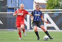Gwyneth Vanaenrode (3) of Standard  pictured fighting for the ball with Ellen Martens (2) of Club Brugge during a female soccer game between Club Brugge Dames YLA and Standard Femine de Liege on the seventh matchday in Play-Off 1 of the 2020 - 2021 season of Belgian Scooore Womens Super League , saturday 15 May 2021  in Brugge , Belgium . PHOTO SPORTPIX.BE   SPP   DAVID CATRY