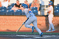 Burlington Royals Maikel Garcia (2) swings at a pitch during game one of the Appalachian League Championship Series against the Johnson City Cardinals at TVA Credit Union Ballpark on September 2, 2019 in Johnson City, Tennessee. The Royals defeated the Cardinals 9-2 to take the series lead 1-0. (Tony Farlow/Four Seam Images)