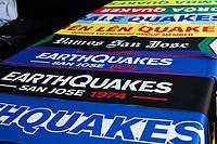 SAN JOSE, CA - SEPTEMBER 4: San Jose I Earthquakes scarves before a game between Colorado Rapids and San Jose Earthquakes at PayPal Park on September 4, 2021 in San Jose, California.